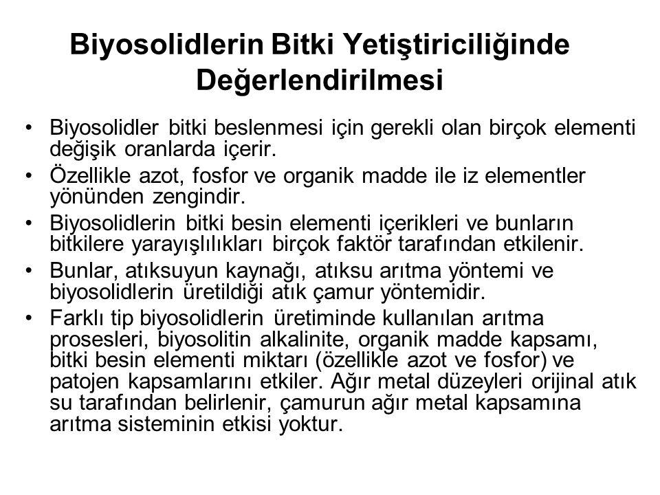 Biyosolidlerin Bitki Yetiştiriciliğinde Değerlendirilmesi Biyosolidler bitki beslenmesi için gerekli olan birçok elementi değişik oranlarda içerir.