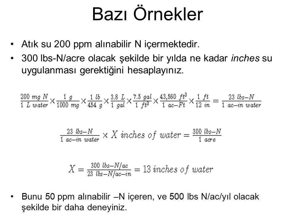 Bazı Örnekler Atık su 200 ppm alınabilir N içermektedir.