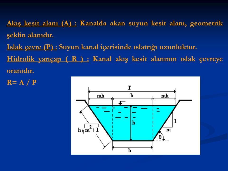 Akış kesit alanı (A) : Kanalda akan suyun kesit alanı, geometrik şeklin alanıdır. Islak çevre (P) : Suyun kanal içerisinde ıslattığı uzunluktur. Hidro