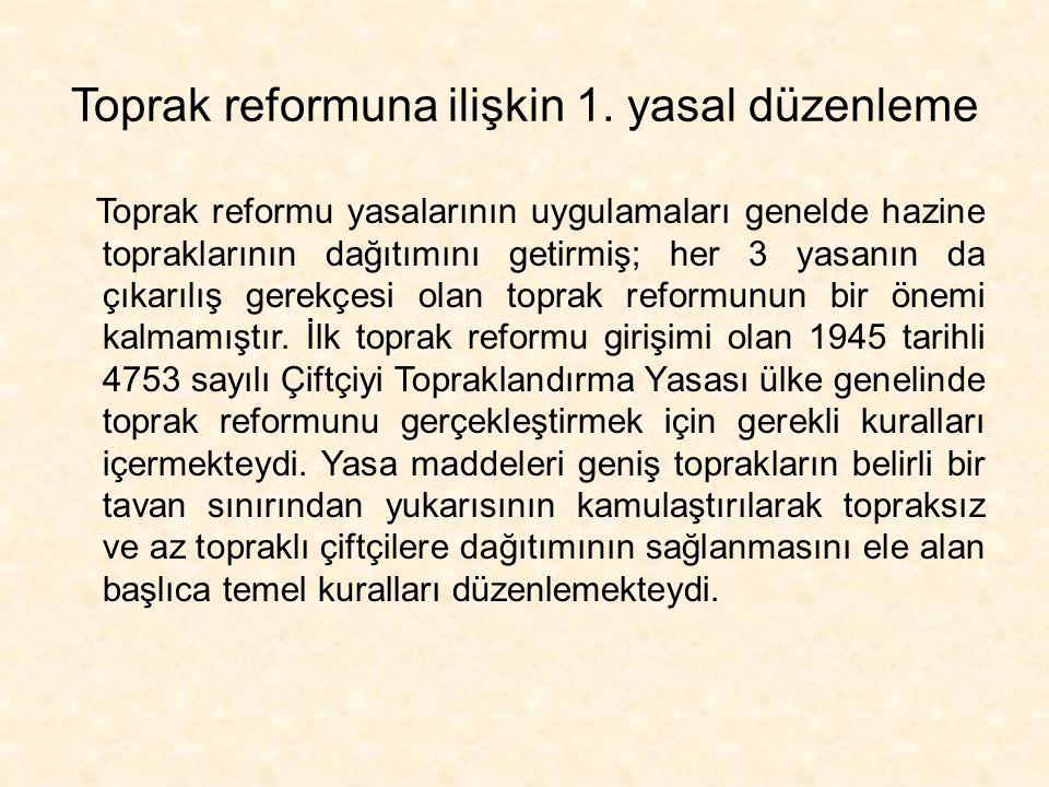 Toprak reformuna ilişkin 1. yasal düzenleme Toprak reformu yasalarının uygulamaları genelde hazine topraklarının dağıtımını getirmiş; her 3 yasanın da