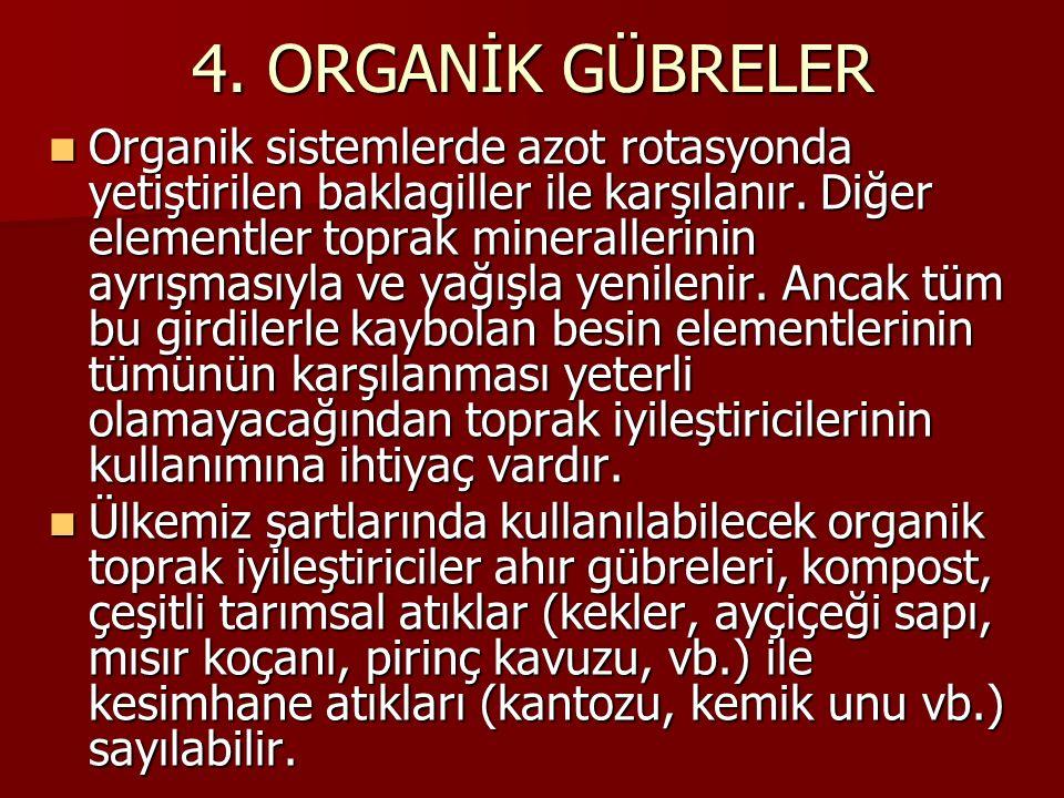 4. ORGANİK GÜBRELER Organik sistemlerde azot rotasyonda yetiştirilen baklagiller ile karşılanır. Diğer elementler toprak minerallerinin ayrışmasıyla v