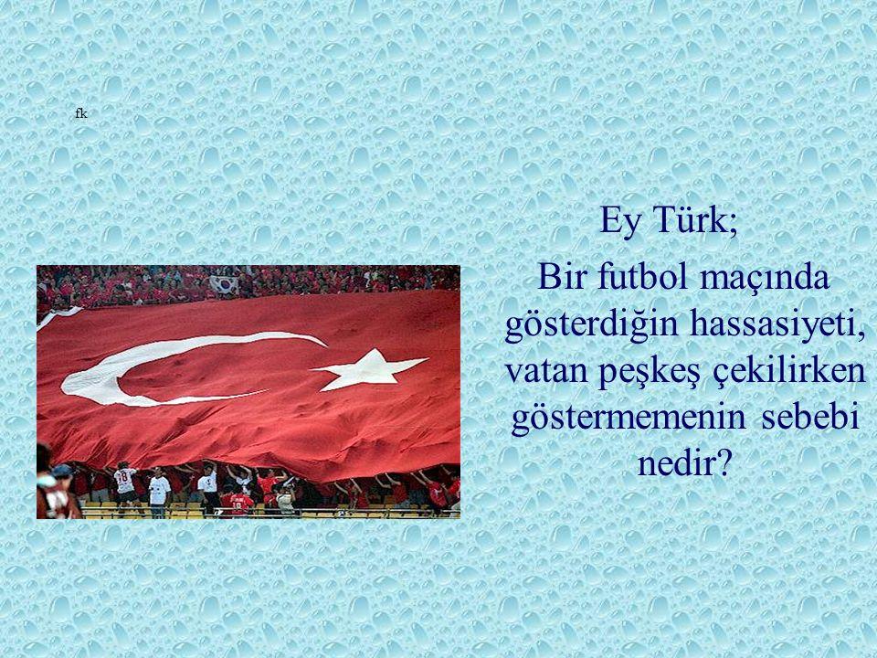 fk Ey Türk; Bir futbol maçında gösterdiğin hassasiyeti, vatan peşkeş çekilirken göstermemenin sebebi nedir?