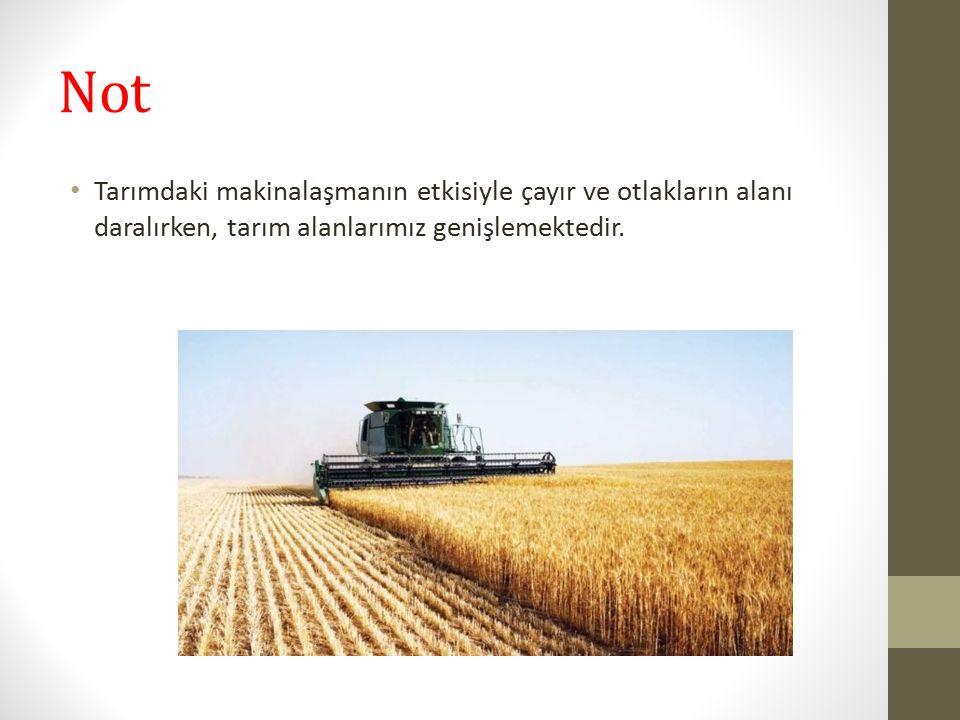Not Tarımdaki makinalaşmanın etkisiyle çayır ve otlakların alanı daralırken, tarım alanlarımız genişlemektedir.