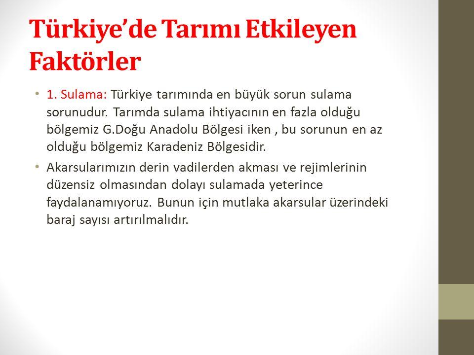 Türkiye'de Tarımı Etkileyen Faktörler 1. Sulama: Türkiye tarımında en büyük sorun sulama sorunudur.