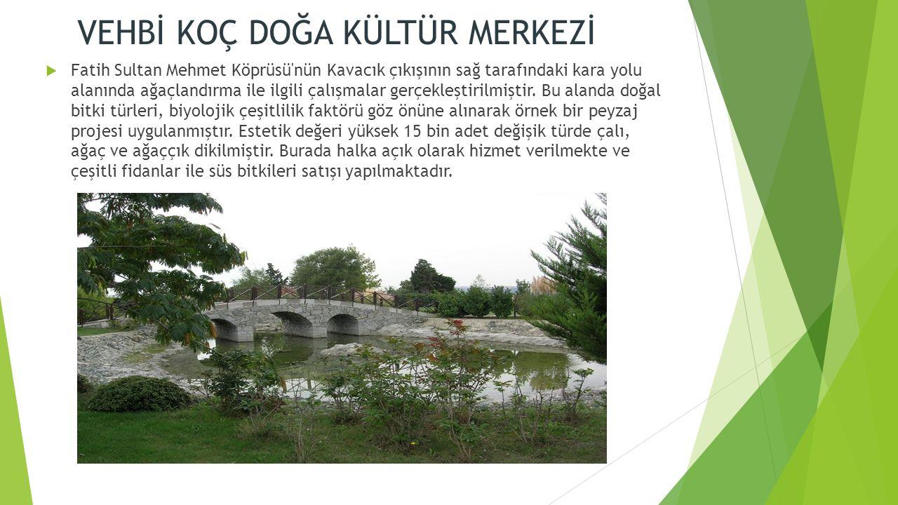 VEHBİ KOÇ DOĞA KÜLTÜR MERKEZİ  Fatih Sultan Mehmet Köprüsü nün Kavacık çıkışının sağ tarafındaki kara yolu alanında ağaçlandırma ile ilgili çalışmalar gerçekleştirilmiştir.