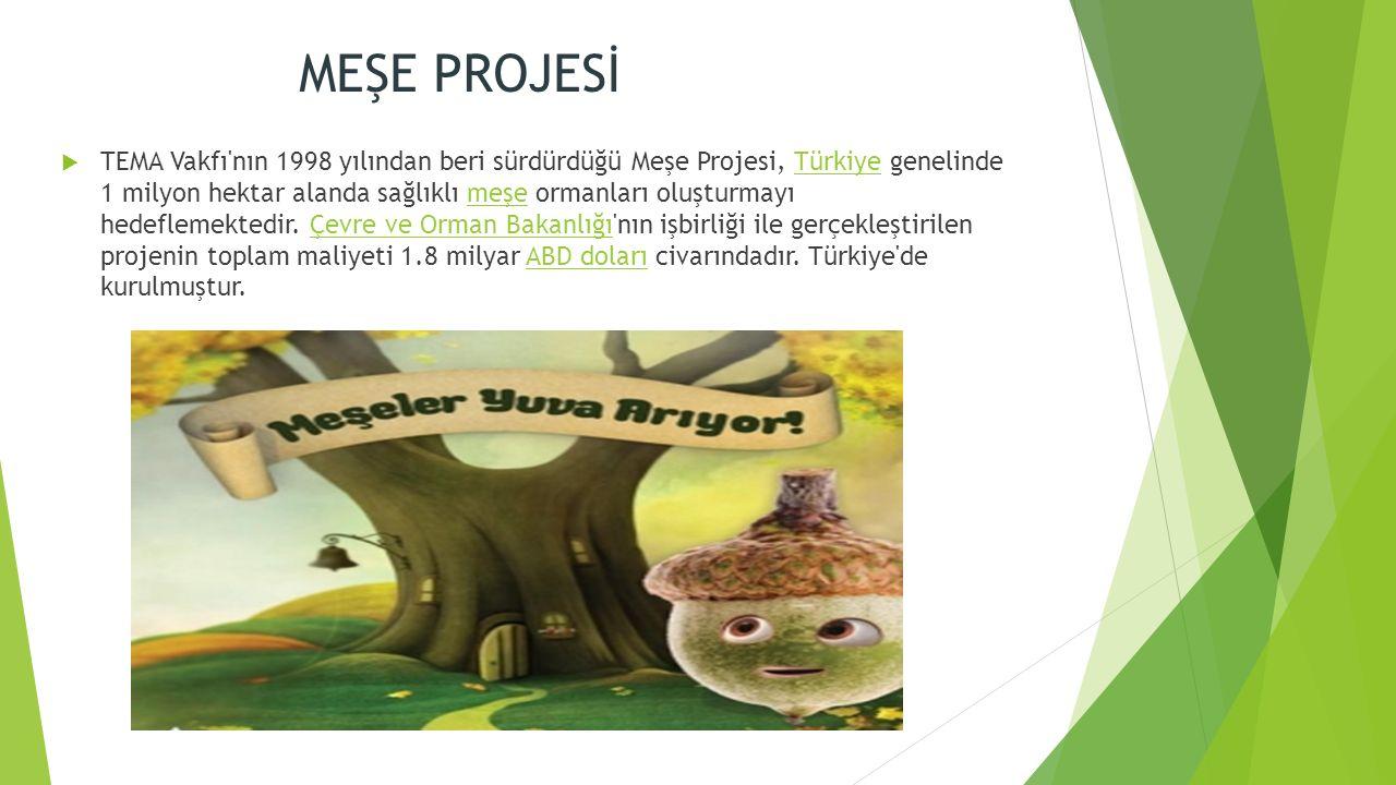 MEŞE PROJESİ  TEMA Vakfı nın 1998 yılından beri sürdürdüğü Meşe Projesi, Türkiye genelinde 1 milyon hektar alanda sağlıklı meşe ormanları oluşturmayı hedeflemektedir.