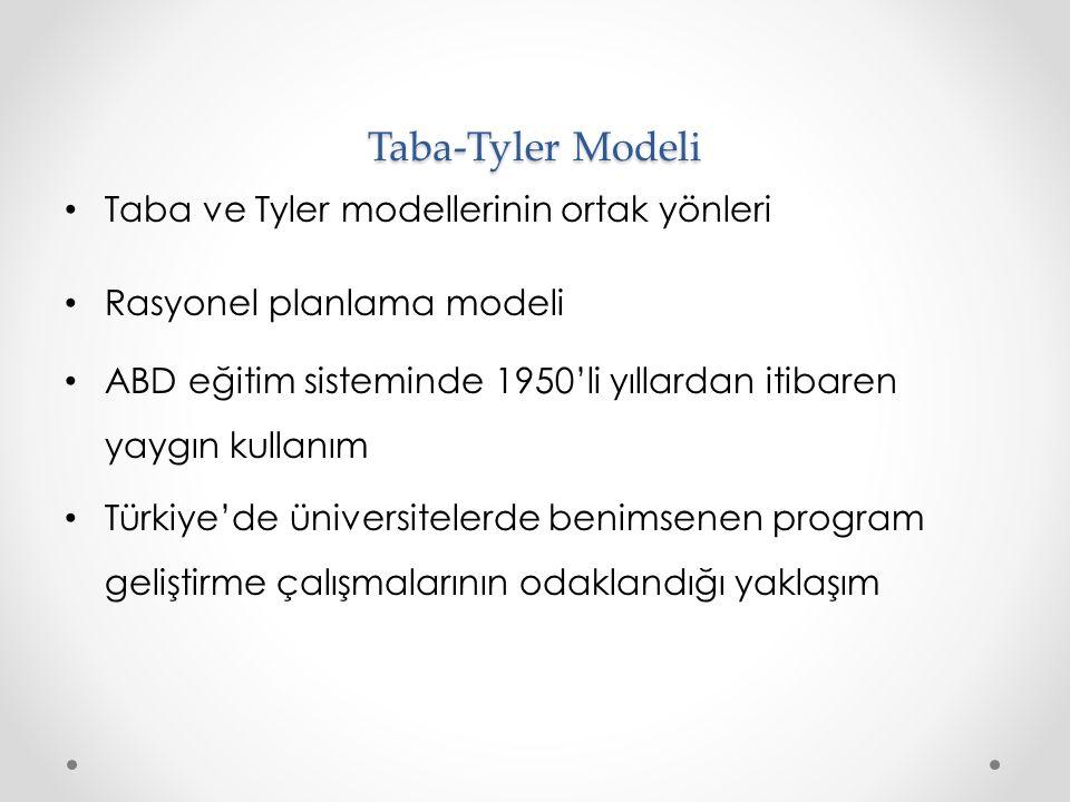 Taba-Tyler Modeli Taba ve Tyler modellerinin ortak yönleri Rasyonel planlama modeli ABD eğitim sisteminde 1950'li yıllardan itibaren yaygın kullanım Türkiye'de üniversitelerde benimsenen program geliştirme çalışmalarının odaklandığı yaklaşım