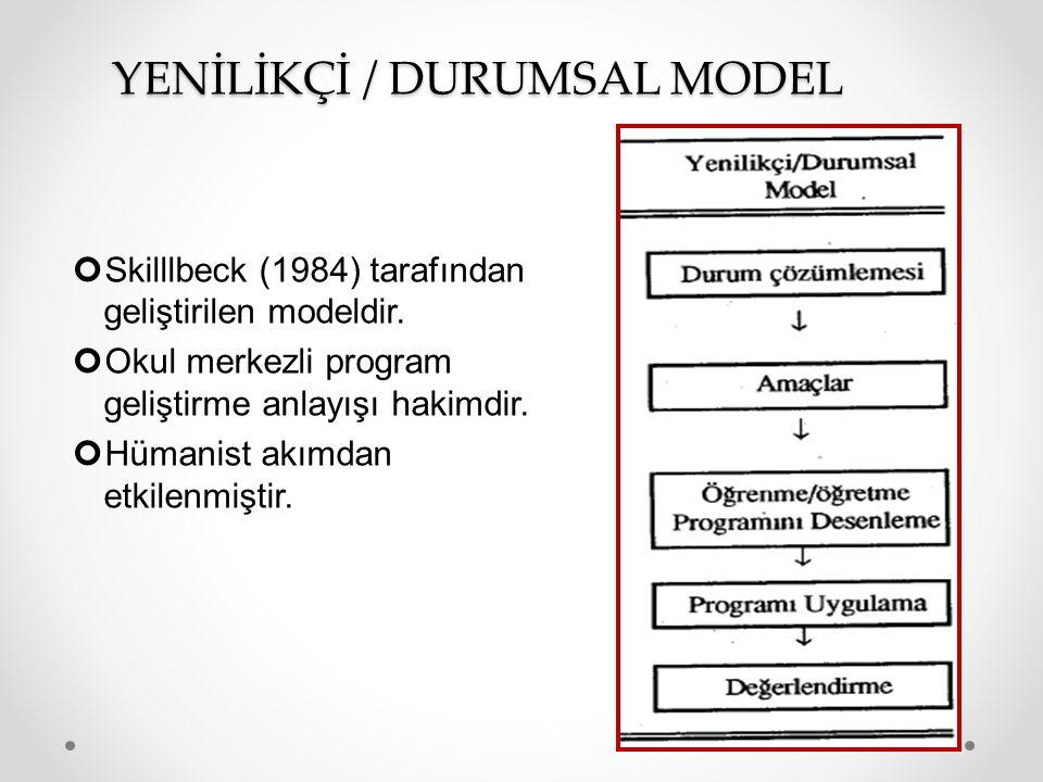 YENİLİKÇİ / DURUMSAL MODEL Skilllbeck (1984) tarafından geliştirilen modeldir.