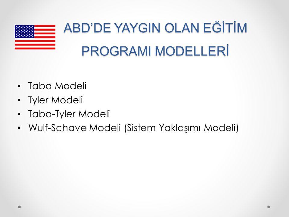 ABD'DE YAYGIN OLAN EĞİTİM PROGRAMI MODELLERİ Taba Modeli Tyler Modeli Taba-Tyler Modeli Wulf-Schave Modeli (Sistem Yaklaşımı Modeli)