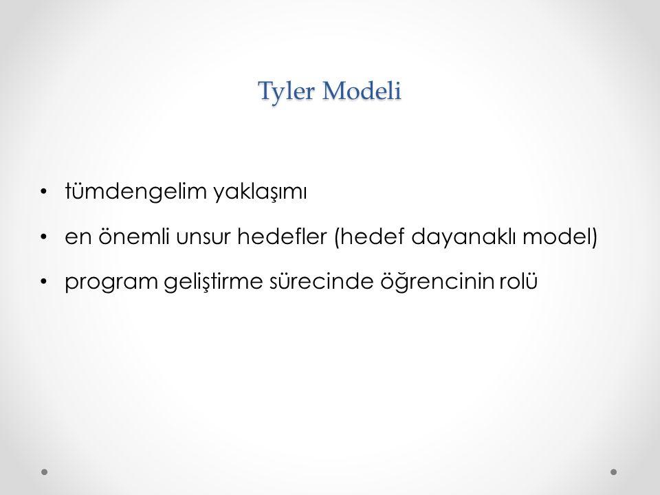 Tyler Modeli tümdengelim yaklaşımı en önemli unsur hedefler (hedef dayanaklı model) program geliştirme sürecinde öğrencinin rolü
