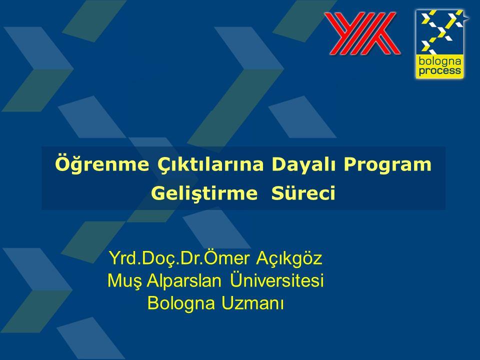 Öğrenme Çıktılarına Dayalı Program Geliştirme Süreci Yrd.Doç.Dr.Ömer Açıkgöz Muş Alparslan Üniversitesi Bologna Uzmanı