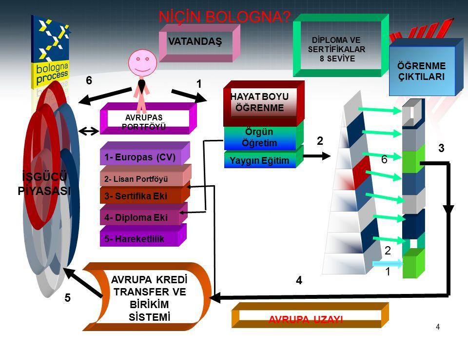 4 AVRUPA UZAYI 5- Hareketlilik 4- Diploma Eki 3- Sertifika Eki 2- Lisan Portföyü 1- Europas (CV) AVRUPAS PORTFÖYÜ VATANDAŞ AVRUPA KREDİ TRANSFER VE BİRİKİM SİSTEMİ DİPLOMA VE SERTİFİKALAR 8 SEVİYE ÖĞRENME ÇIKTILARI Yaygın Eğitim Örgün Öğretim HAYAT BOYU ÖĞRENME İŞGÜCÜ PİYASASI 1 2 3 4 5 6 6 2 1 NİÇİN BOLOGNA