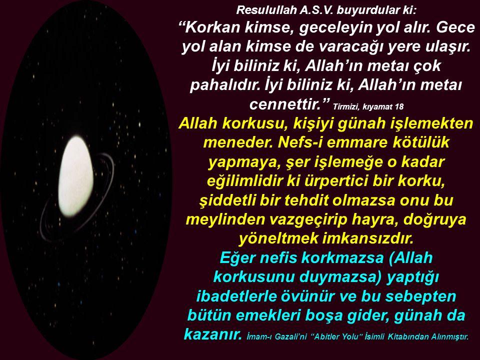 """Resulullah A.S.V. buyurdular ki: """"Korkan kimse, geceleyin yol alır. Gece yol alan kimse de varacağı yere ulaşır. İyi biliniz ki, Allah'ın metaı çok pa"""