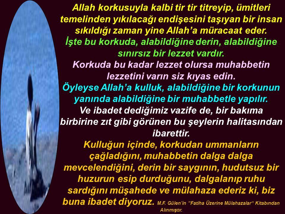 Allah korkusuyla kalbi tir tir titreyip, ümitleri temelinden yıkılacağı endişesini taşıyan bir insan sıkıldığı zaman yine Allah'a müracaat eder. İşte