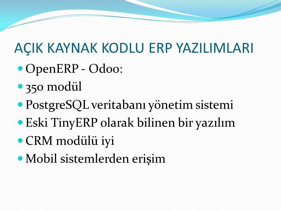 AÇIK KAYNAK KODLU ERP YAZILIMLARI OpenERP - Odoo: 350 modül PostgreSQL veritabanı yönetim sistemi Eski TinyERP olarak bilinen bir yazılım CRM modülü i