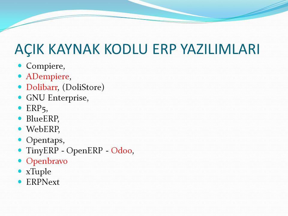 AÇIK KAYNAK KODLU ERP YAZILIMLARI Compiere, ADempiere, Dolibarr, (DoliStore) GNU Enterprise, ERP5, BlueERP, WebERP, Opentaps, TinyERP - OpenERP - Odoo