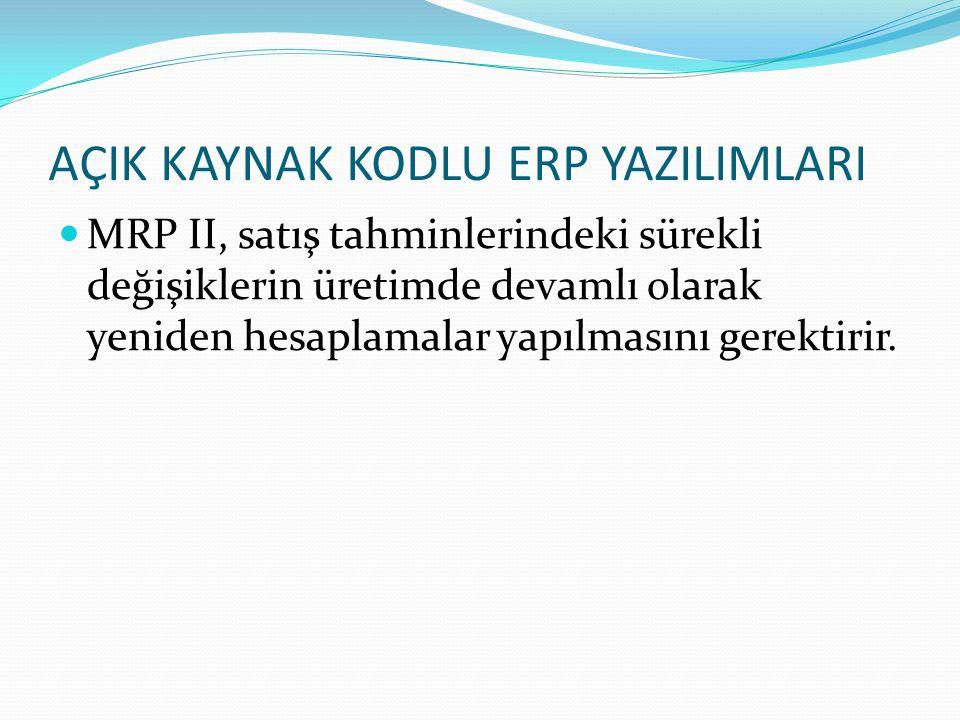 AÇIK KAYNAK KODLU ERP YAZILIMLARI MRP II, satış tahminlerindeki sürekli değişiklerin üretimde devamlı olarak yeniden hesaplamalar yapılmasını gerektir