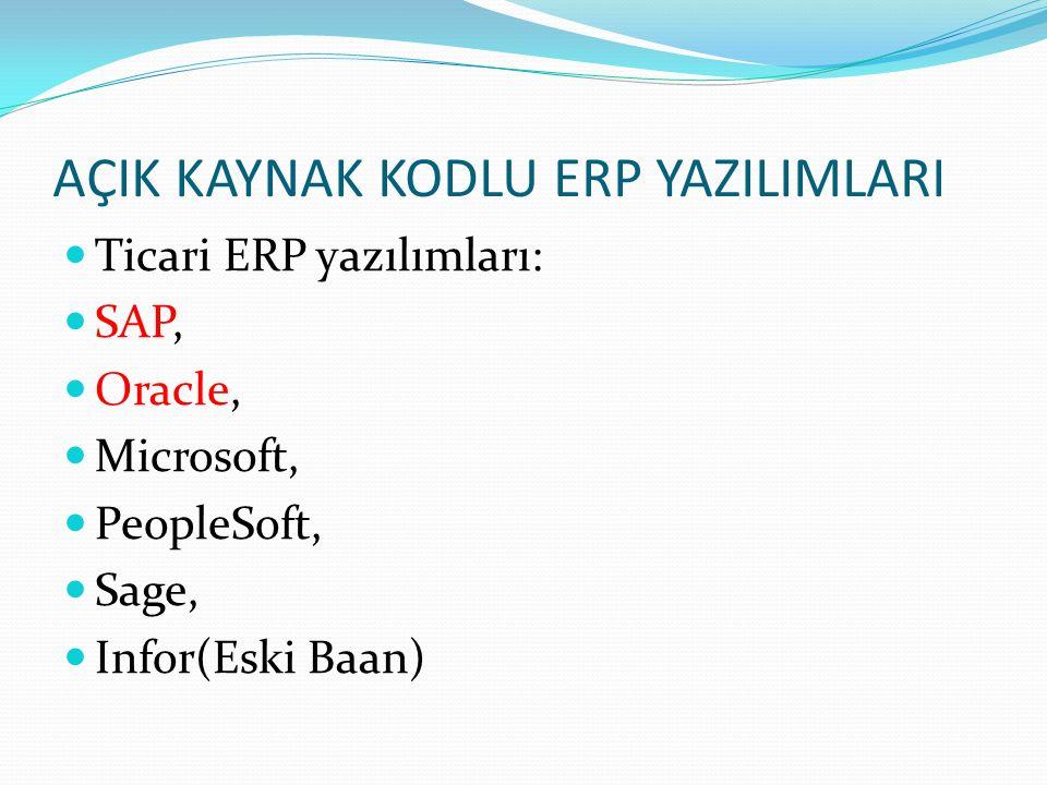 KAYNAK K İ TAP: Modern erp, SELECT, IMPLEMENT & USE TODAY'S ADVANCED BUSINESS SYSTEMS, Marianne bradford, 2010 http://www.bth.se/fou/cuppsats.nsf/all/49e95ac7cff94 7fdc12575d6004fe918/$file/Vittorio_Fougatsaro_Open _Source_ERP_Systems_Thesis.pdf http://flosspols.org/deliverables/FLOSSPOLS- D03%20local%20governments%20survey%20reportFI NAL.pdf Eren Kovancı, Açık Kaynak Kodlu ERP Karşılaştırılması, Bağımsız İnceleme, 2013.