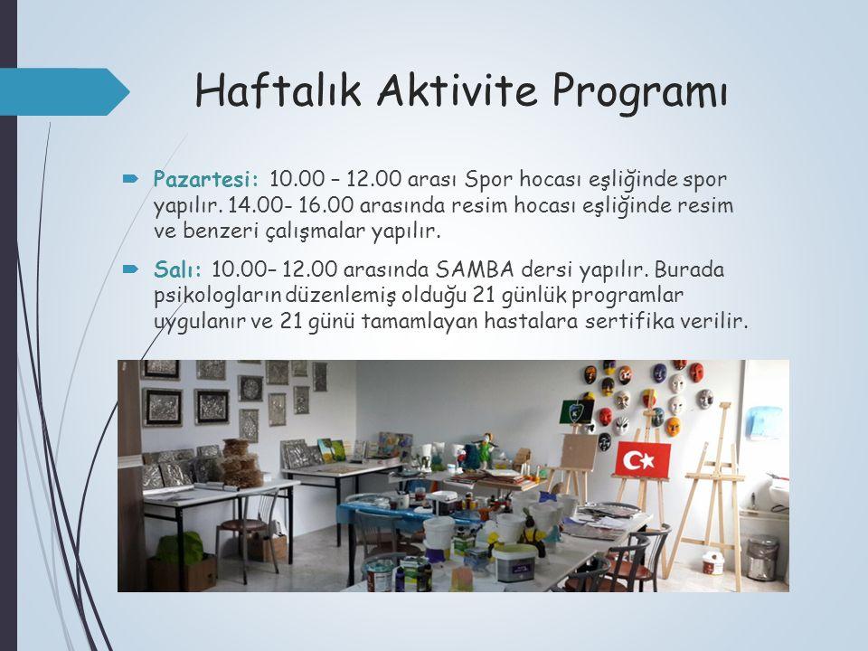 Haftalık Aktivite Programı  Pazartesi: 10.00 – 12.00 arası Spor hocası eşliğinde spor yapılır. 14.00- 16.00 arasında resim hocası eşliğinde resim ve