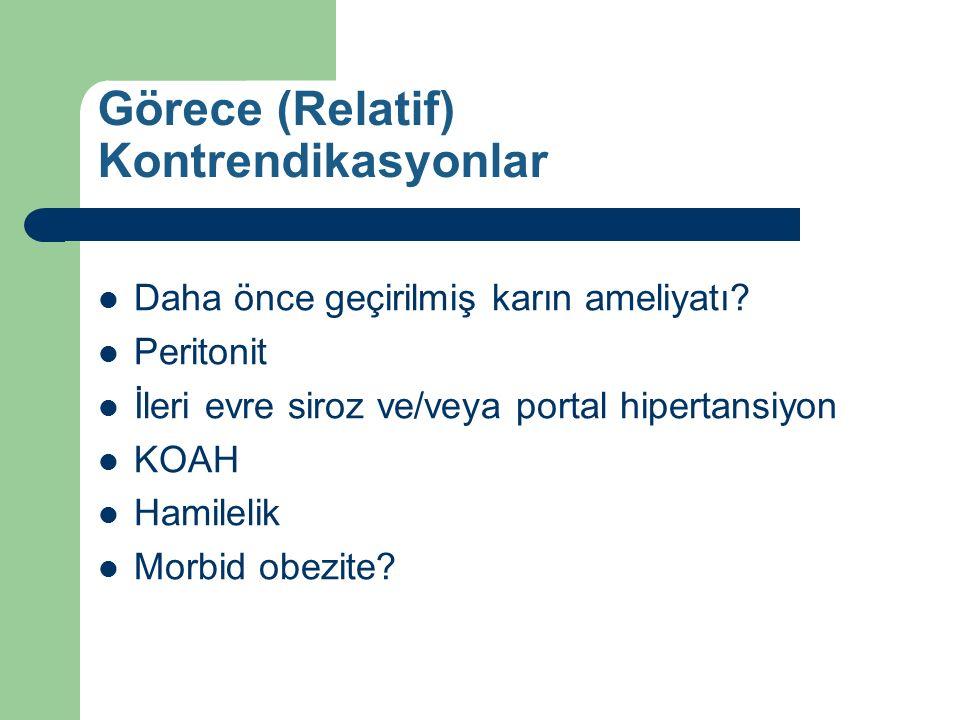 Görece (Relatif) Kontrendikasyonlar Daha önce geçirilmiş karın ameliyatı? Peritonit İleri evre siroz ve/veya portal hipertansiyon KOAH Hamilelik Morbi