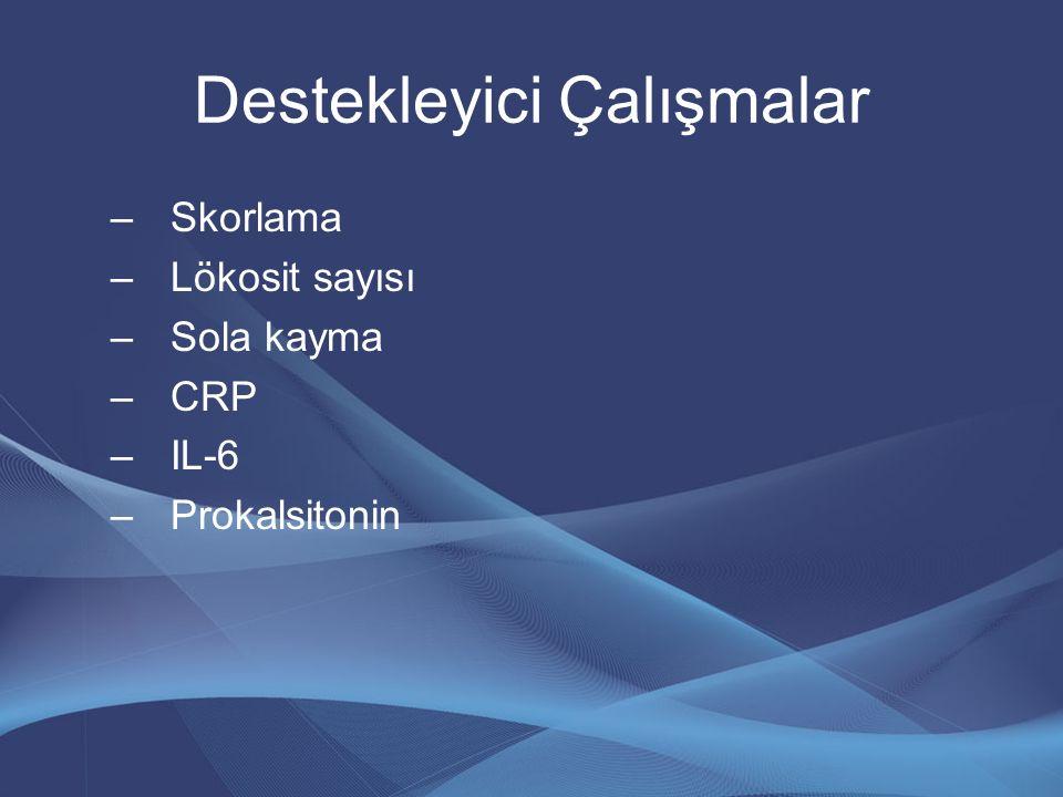 Destekleyici Çalışmalar –Skorlama –Lökosit sayısı –Sola kayma –CRP –IL-6 –Prokalsitonin