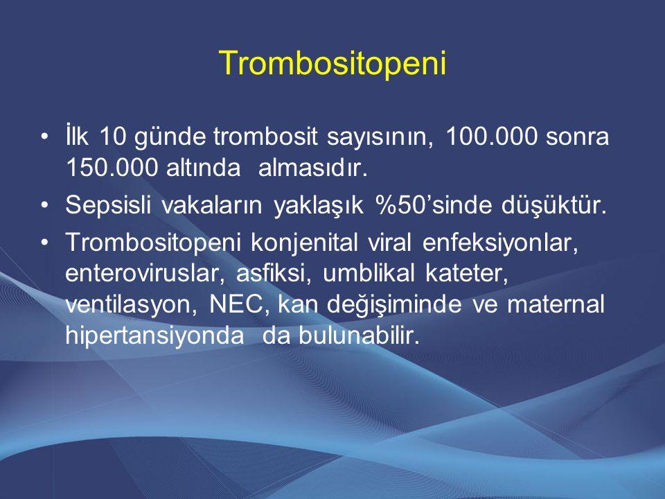 Trombositopeni İlk 10 günde trombosit sayısının, 100.000 sonra 150.000 altında almasıdır. Sepsisli vakaların yaklaşık %50'sinde düşüktür. Trombositope