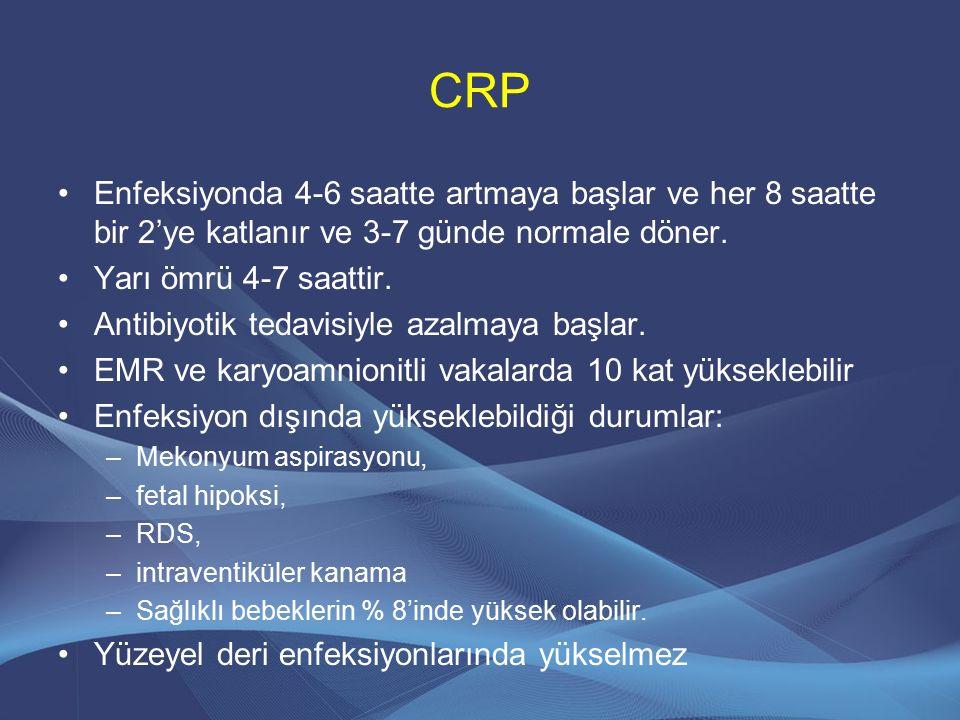 CRP Enfeksiyonda 4-6 saatte artmaya başlar ve her 8 saatte bir 2'ye katlanır ve 3-7 günde normale döner. Yarı ömrü 4-7 saattir. Antibiyotik tedavisiyl
