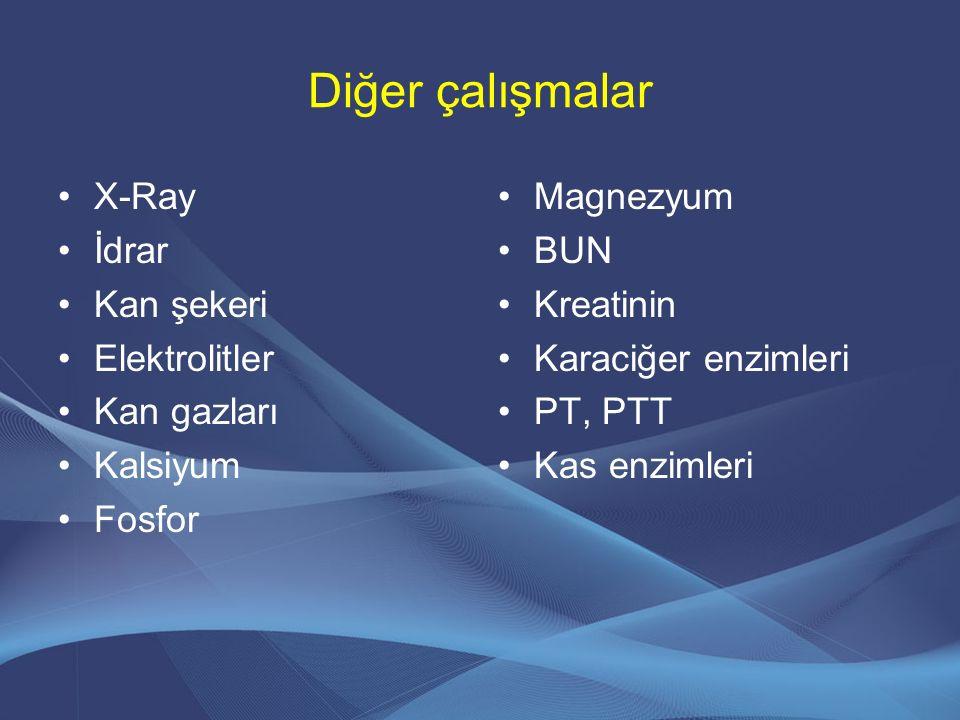 Diğer çalışmalar X-Ray İdrar Kan şekeri Elektrolitler Kan gazları Kalsiyum Fosfor Magnezyum BUN Kreatinin Karaciğer enzimleri PT, PTT Kas enzimleri