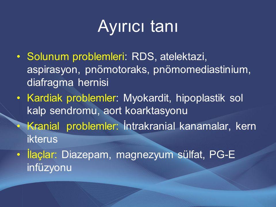 Ayırıcı tanı Solunum problemleri: RDS, atelektazi, aspirasyon, pnömotoraks, pnömomediastinium, diafragma hernisi Kardiak problemler: Myokardit, hipopl