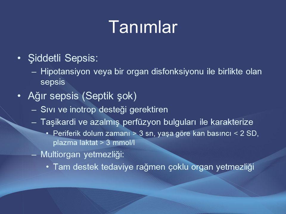 Tanımlar Şiddetli Sepsis: –Hipotansiyon veya bir organ disfonksiyonu ile birlikte olan sepsis Ağır sepsis (Septik şok) –Sıvı ve inotrop desteği gerekt