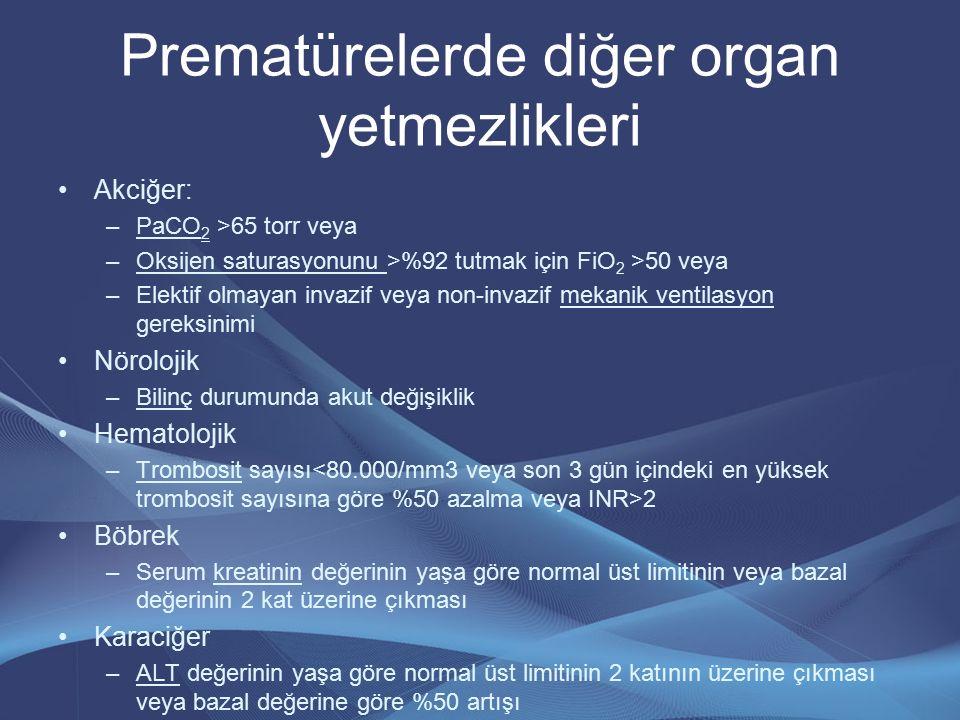 Prematürelerde diğer organ yetmezlikleri Akciğer: –PaCO 2 >65 torr veya –Oksijen saturasyonunu >%92 tutmak için FiO 2 >50 veya –Elektif olmayan invazi