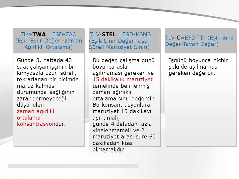 TLV-C=ESD-TD (Eşik Sınır Değer-Tavan Değer) TLV-TWA =ESD-ZAO (Eşik Sınır Değer -zaman Ağırlıklı Ortalama) TLV-TWA =ESD-ZAO (Eşik Sınır Değer -zaman Ağ