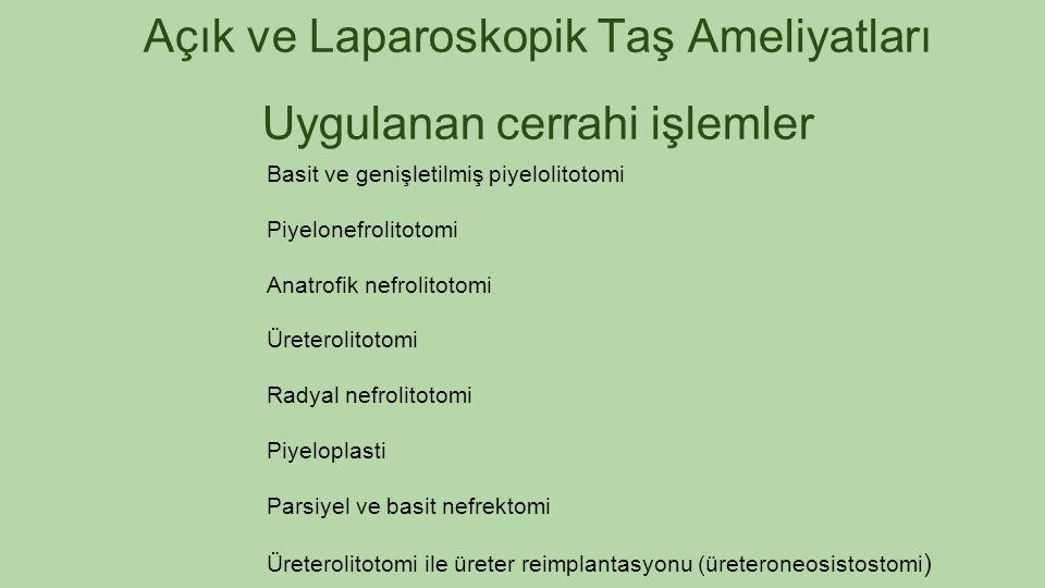 Açık ve Laparoskopik Taş Ameliyatları Uygulanan cerrahi işlemler Basit ve genişletilmiş piyelolitotomi Piyelonefrolitotomi Anatrofik nefrolitotomi Üre
