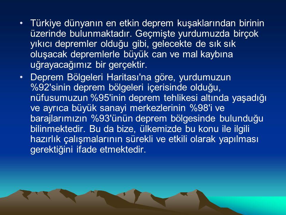 Türkiye dünyanın en etkin deprem kuşaklarından birinin üzerinde bulunmaktadır. Geçmişte yurdumuzda birçok yıkıcı depremler olduğu gibi, gelecekte de s
