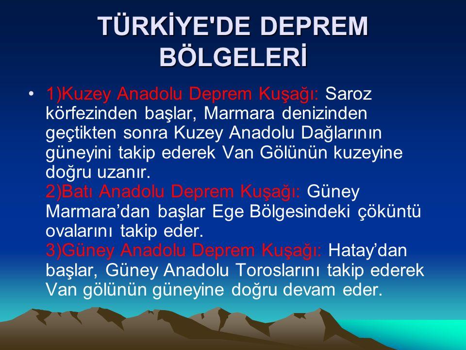 TÜRKİYE'DE DEPREM BÖLGELERİ 1)Kuzey Anadolu Deprem Kuşağı: Saroz körfezinden başlar, Marmara denizinden geçtikten sonra Kuzey Anadolu Dağlarının güney