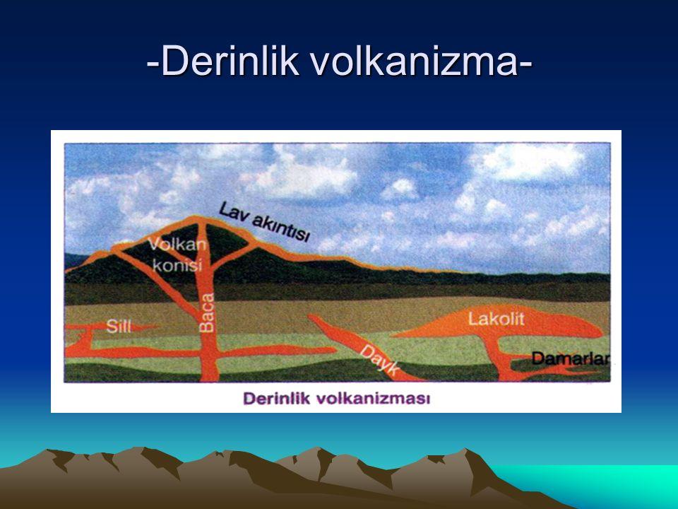 B- YÜZEY VOLKANİZMASI Magmanın yer kabuğunun zayıf olduğu kırıklı (fay) bölgelerden yüzeye çıkmasıyla yüzey volkanizması oluşur.