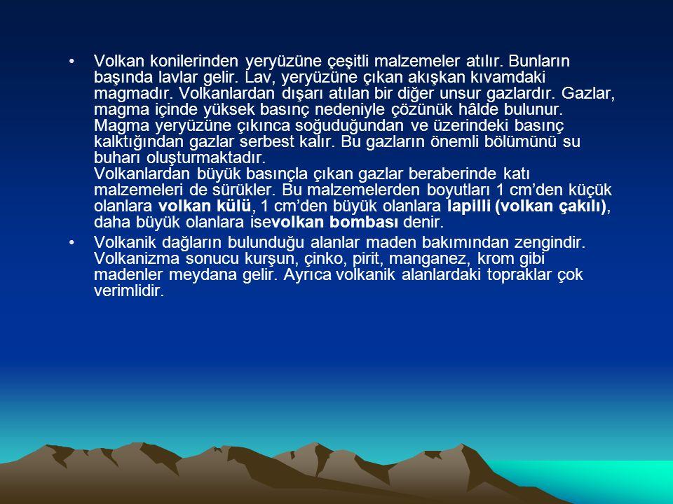 Volkan konilerinden yeryüzüne çeşitli malzemeler atılır. Bunların başında lavlar gelir. Lav, yeryüzüne çıkan akışkan kıvamdaki magmadır. Volkanlardan