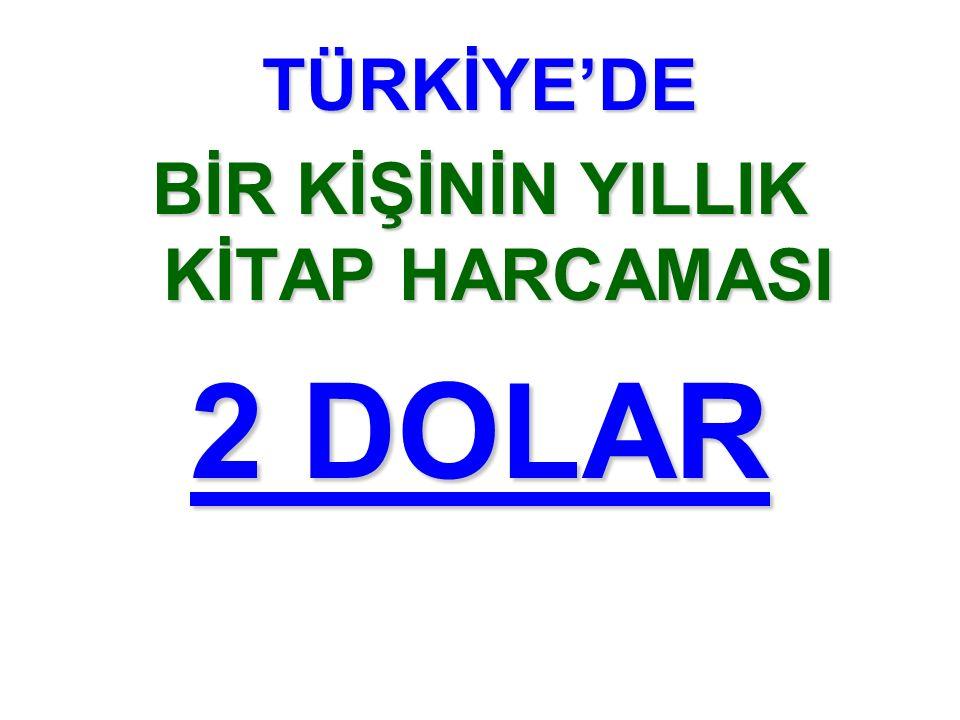 TÜRKİYE'DE BİR KİŞİNİN YILLIK KİTAP HARCAMASI 2 DOLAR