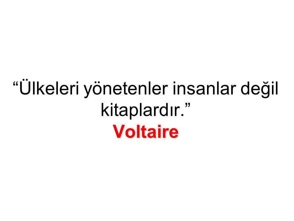 Voltaire Ülkeleri yönetenler insanlar değil kitaplardır. Voltaire