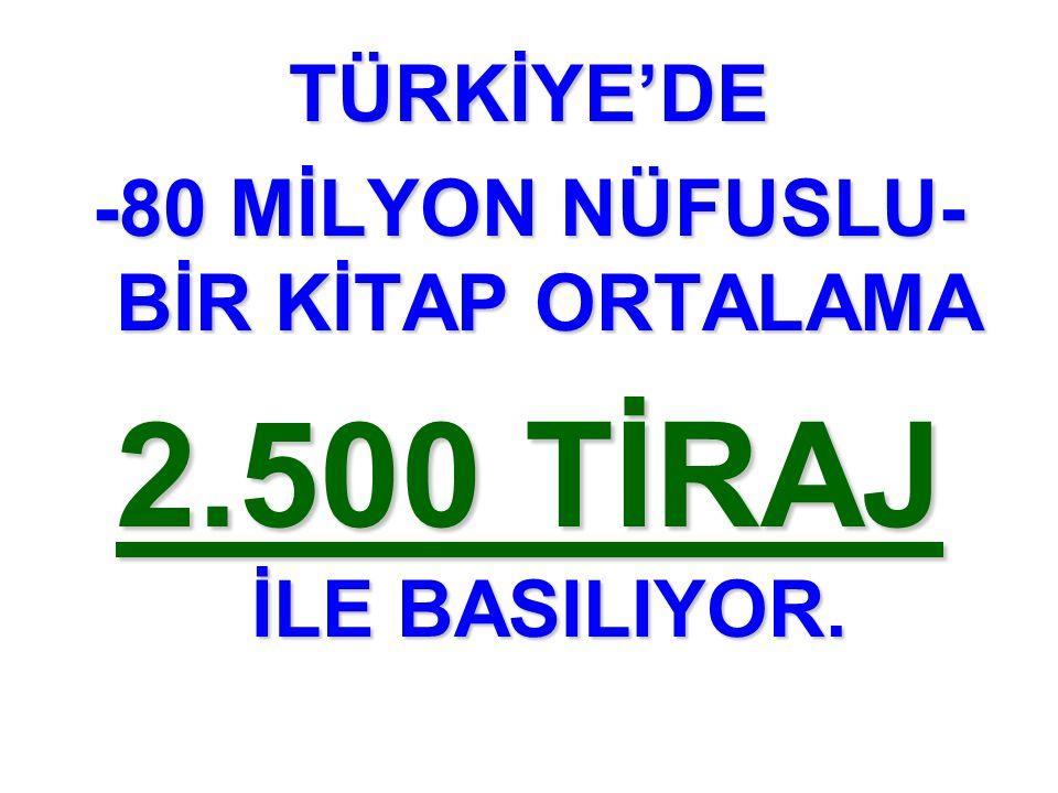 TÜRKİYE'DE -80 MİLYON NÜFUSLU- BİR KİTAP ORTALAMA 2.500 TİRAJ İLE BASILIYOR.