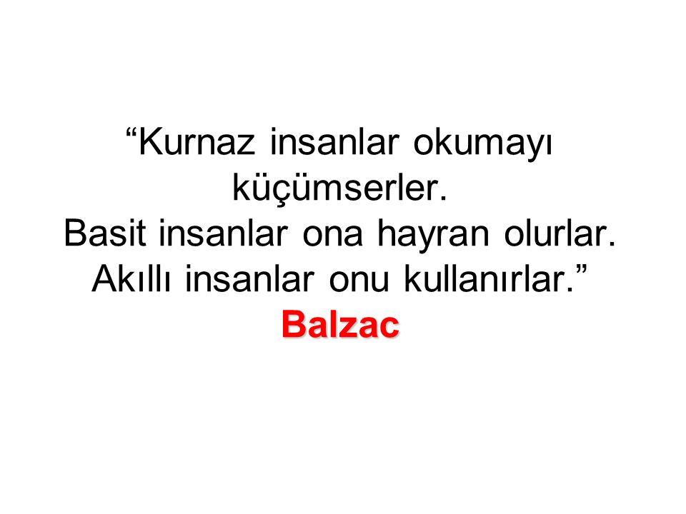 Balzac Kurnaz insanlar okumayı küçümserler.Basit insanlar ona hayran olurlar.