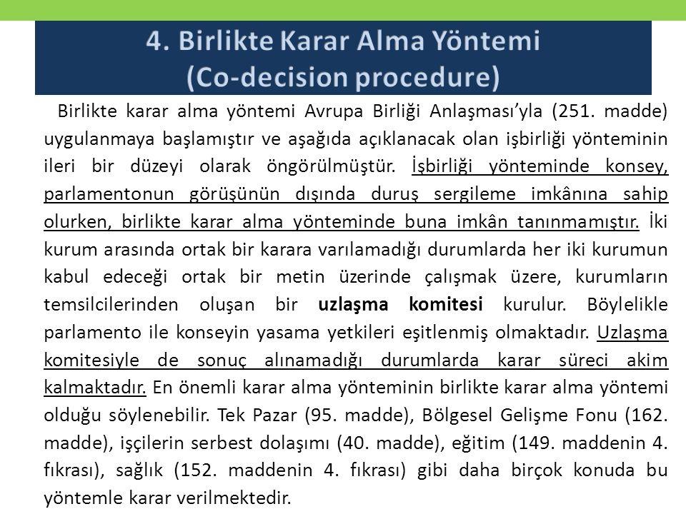 Birlikte karar alma yöntemi Avrupa Birliği Anlaşması'yla (251.