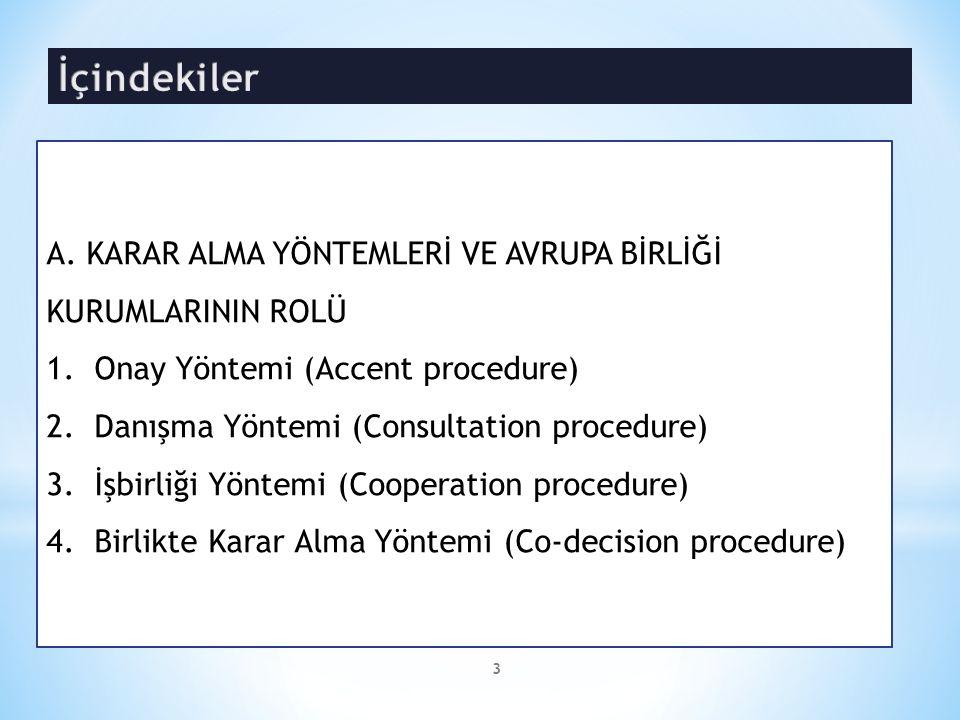 A. KARAR ALMA YÖNTEMLERİ VE AVRUPA BİRLİĞİ KURUMLARININ ROLÜ 1.Onay Yöntemi (Accent procedure) 2.Danışma Yöntemi (Consultation procedure) 3.İşbirliği