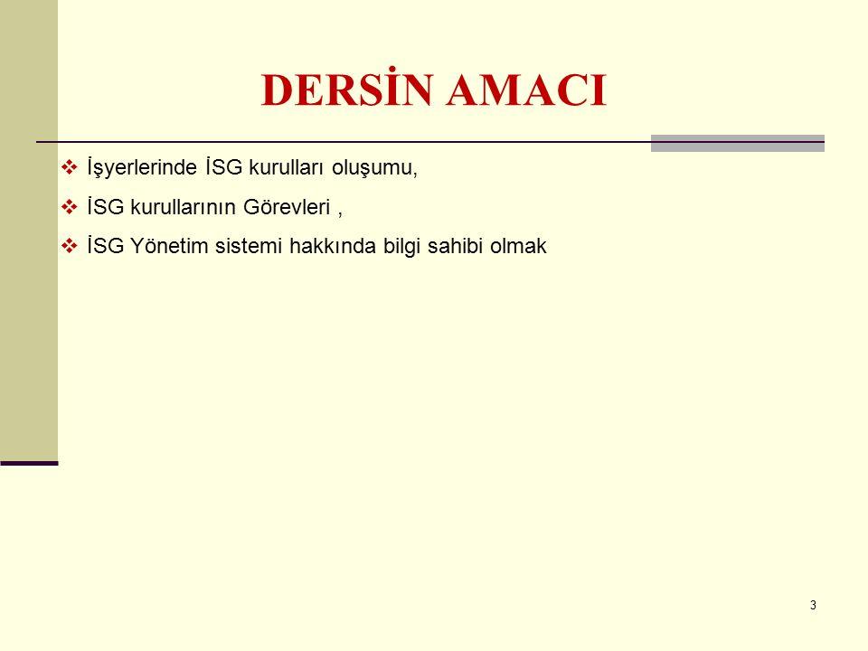2 İÇERİK Temel kavramlar, İSG güvenlik kültürü İSG yasal mevzuat, Türkiye'de ve dünyada İSG İSG kurulları, İSG yönetim sistemi Çalışma ortamında tehli