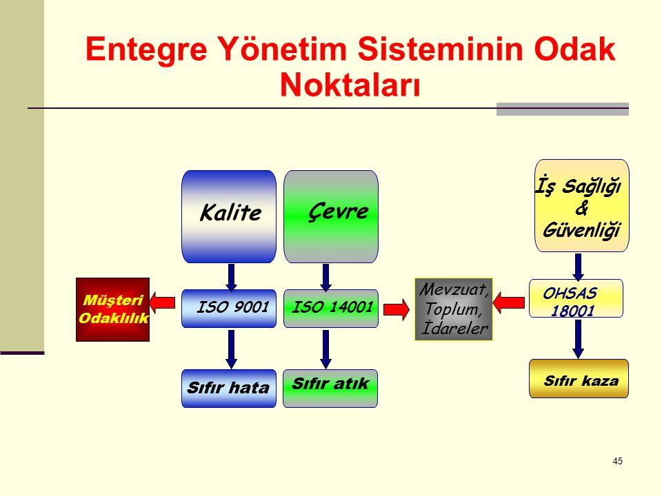 44 Entegre Sistem Elemanları Politika Planlama Uygulama ve Operasyon Kontrol ve Düzeltici Faaliyetler Yönetimin Gözden Geçirmesi ISO 9001 Kalite ISO 1