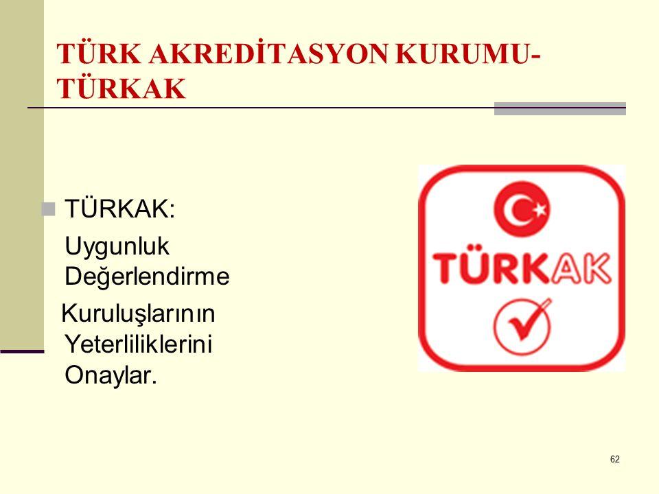 61 TÜRK STANDARTLARI ENSTİTÜSÜ (TSE) TSE, her türlü madde ve mamuller ile usul ve hizmet standartlarını hazırlama amacıyla kurulan, özel hukuk hükümle