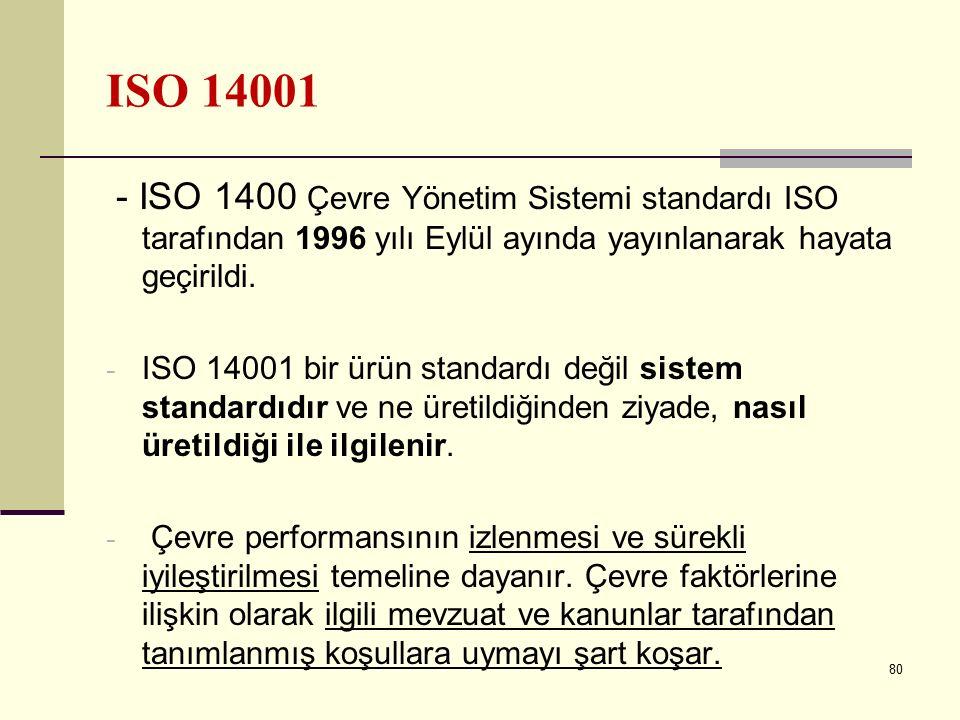 79 ISO 14001 Kurum için bir çevre politikası oluşturmak, bu politikayı uygulamak ve sürdürmek esasına dayanan ve çevre ile ilgili prosesleri, prosedür