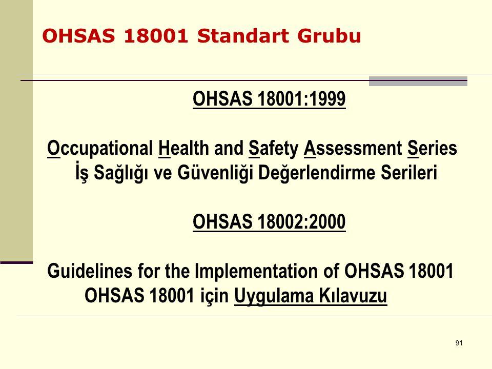 90 TS 18001 – 2004 İş Sağlığı ve Güvenliği Yönetim Sistemi Standardı Bu standard, iş sağlığı ve güvenliği ile ilgili BSI-OHSAS 18001 (1999) standardı