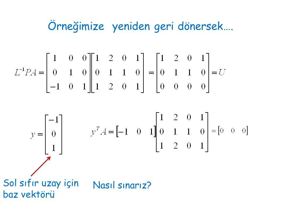 Örneğimize yeniden geri dönersek…. Sol sıfır uzay için baz vektörü Nasıl sınarız?