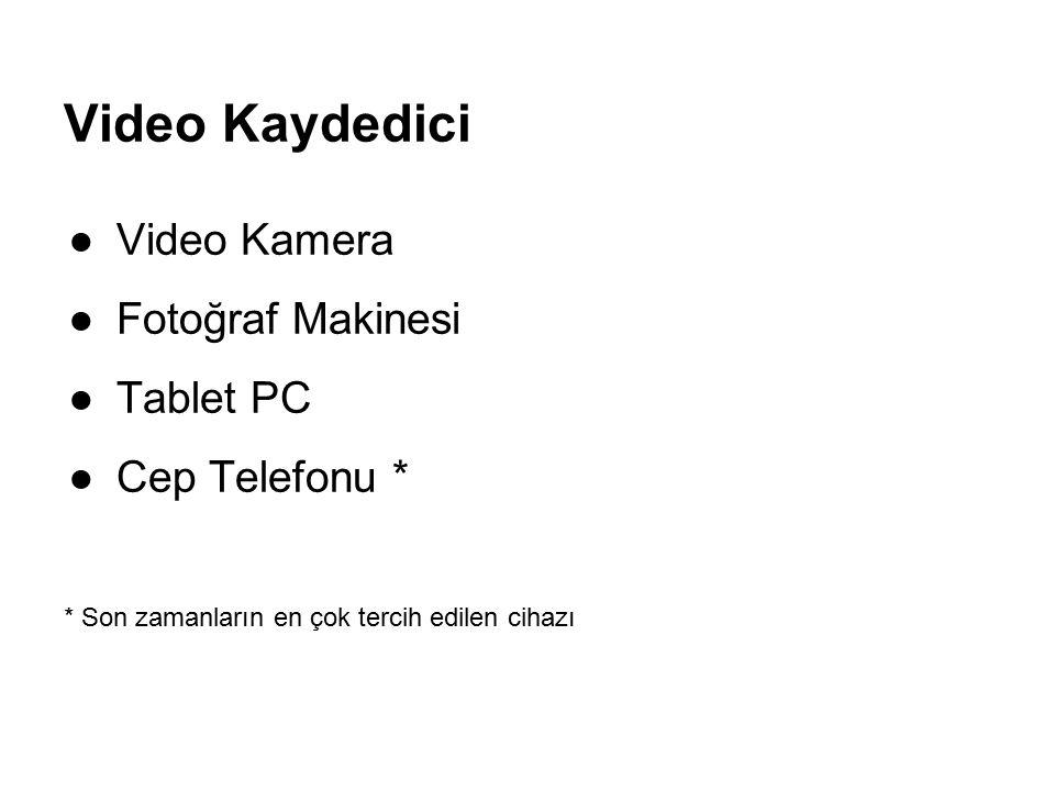 Video Kaydedici ●Video Kamera ●Fotoğraf Makinesi ●Tablet PC ●Cep Telefonu * * Son zamanların en çok tercih edilen cihazı